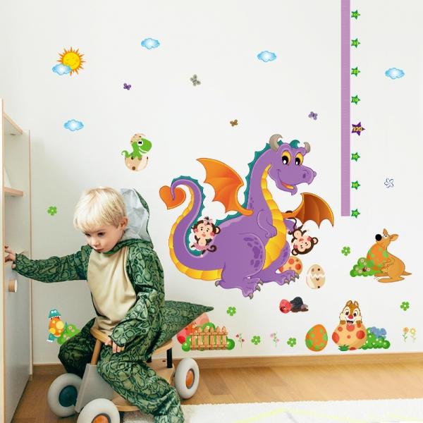 Sticker decorativ copii - Grafic de crestere dragonul prietenos - masurator inaltime 1