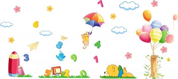Sticker decorativ copii - Sa ne jucam cu numerele 2