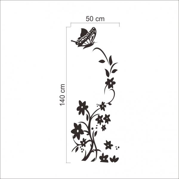 Sticker decorativ frigider - Flori si fluturi 5