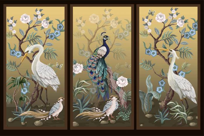 Sticker decorativ - Motive chinezesti - 3 panouri [0]