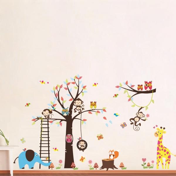Sticker decorativ - Maimute in copaci, elefant si girafa 1