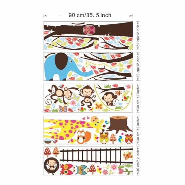 Sticker decorativ - Maimute in copaci, elefant si girafa 5