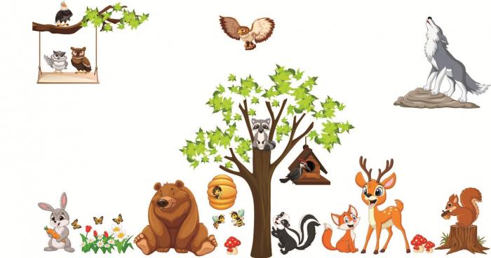 Sticker copii - Animale in padure - 230x140 cm 0