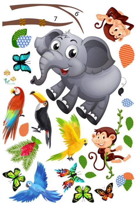 Sticker decorativ - Maimute in copaci, elefant si girafa - 230x140 cm 2