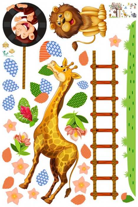 Sticker decorativ - Maimute in copaci, elefant si girafa - 230x140 cm 1