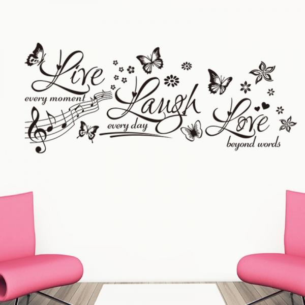 Sticker decorativ motivational - Text, flori, fluturi, muzica 0