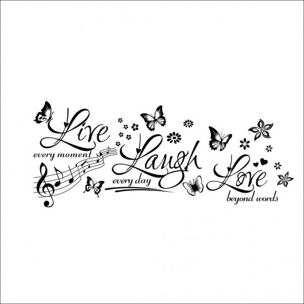 Sticker decorativ motivational - Text, flori, fluturi, muzica 2
