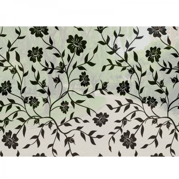 Sticker decorativ pentru geamuri  - Model floral - efect geam sablat - 90 cm latime 3