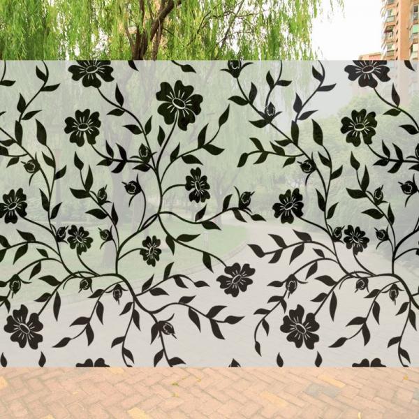 Sticker decorativ pentru geamuri  - Model floral - efect geam sablat - 90 cm latime 2