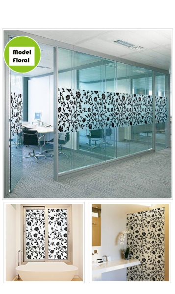 Sticker decorativ pentru geamuri  - Model floral - efect geam sablat - 90 cm latime 0