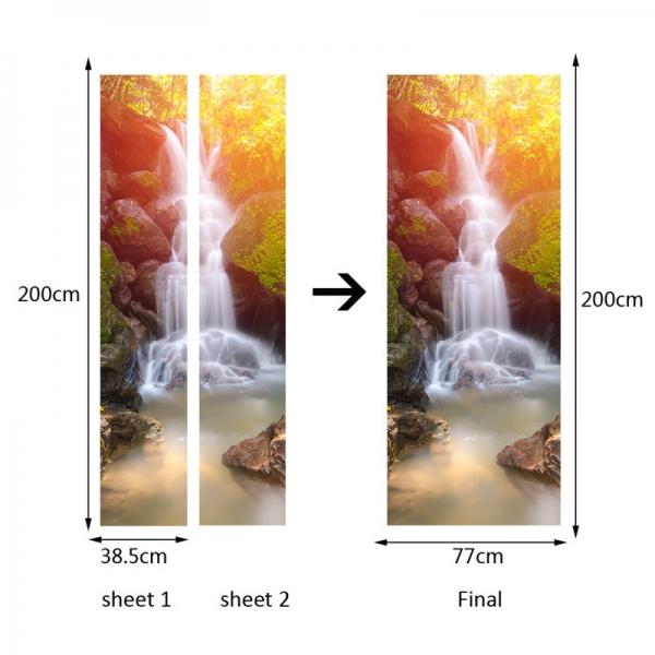 Sticker decorativ pentru usi - Cascada - 2 folii de 38,5x200 cm 4