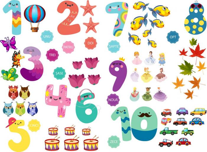 Sticker educativ, Numere si Grupe de Elemente, 2 planse de 60x90 cm [0]
