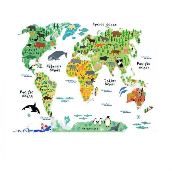 Sticker educativ pentru copii - Harta lumii pentru copii 5