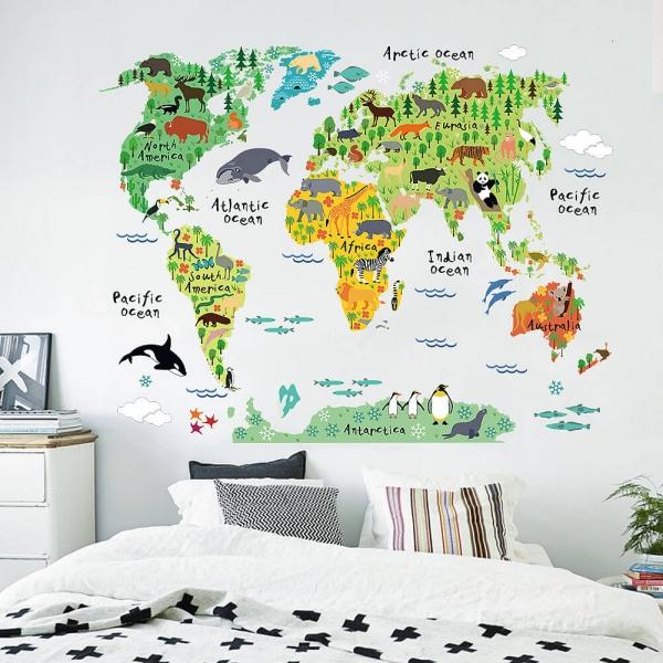 Sticker educativ pentru copii - Harta lumii pentru copii 1