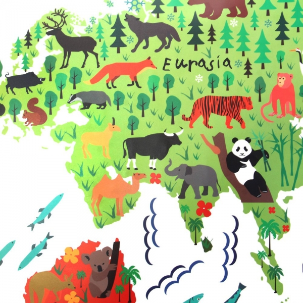 Sticker educativ pentru copii - Harta lumii pentru copii 3