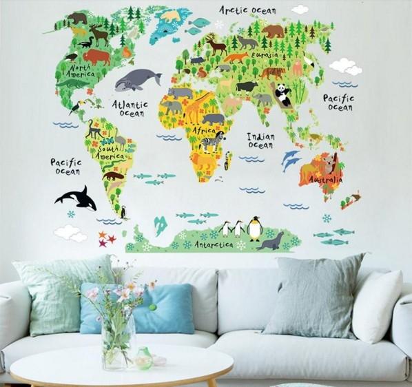 Sticker educativ pentru copii - Harta lumii pentru copii 2