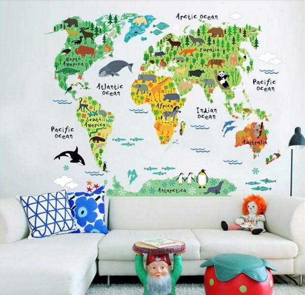 Sticker educativ pentru copii - Harta lumii pentru copii 0