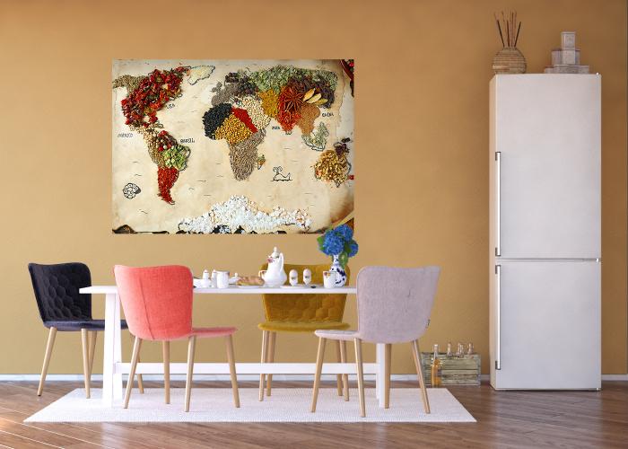 Sticker decorativ - Harta Lumii din Condimente 1