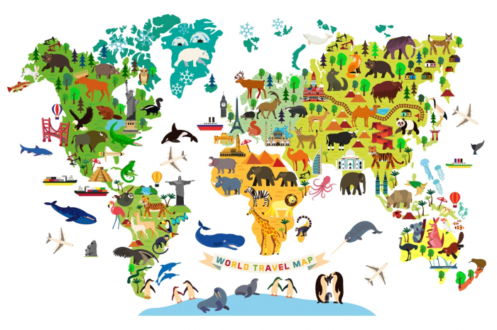 Sticker pentru copii - Harta lumii cu animale si monumente [0]