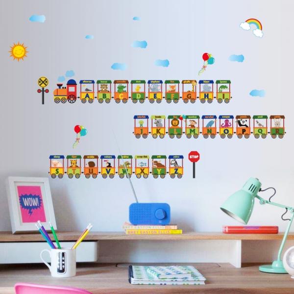 Sticker educativ - Vagoane cu literele alfabetului 0