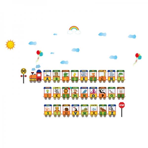 Sticker educativ - Vagoane cu literele alfabetului 6