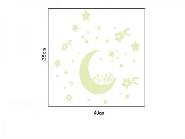 Sticker fosforescent - Luna si stele 3