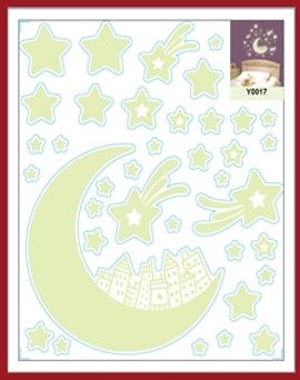 Sticker fosforescent - Luna si stele 1