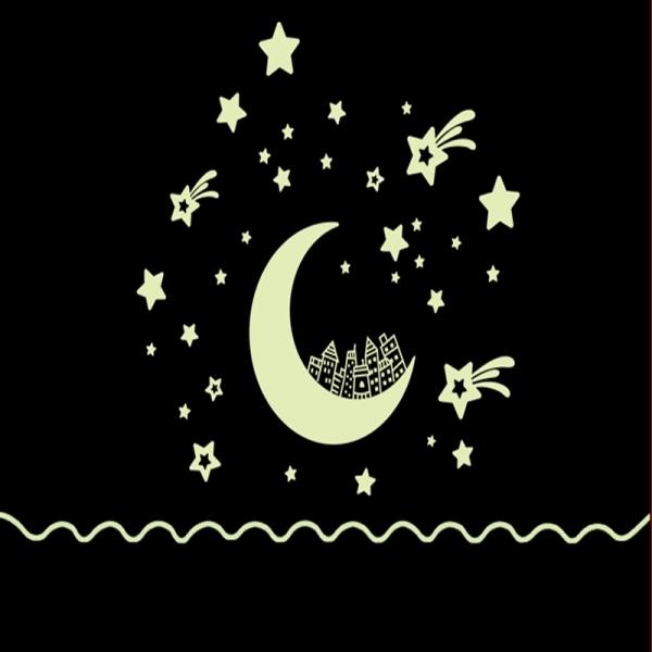 Sticker fosforescent - Luna si stele 2