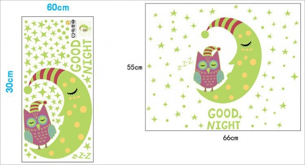 Sticker fosforescent - Luna si bufnita - 66x55 cm 6