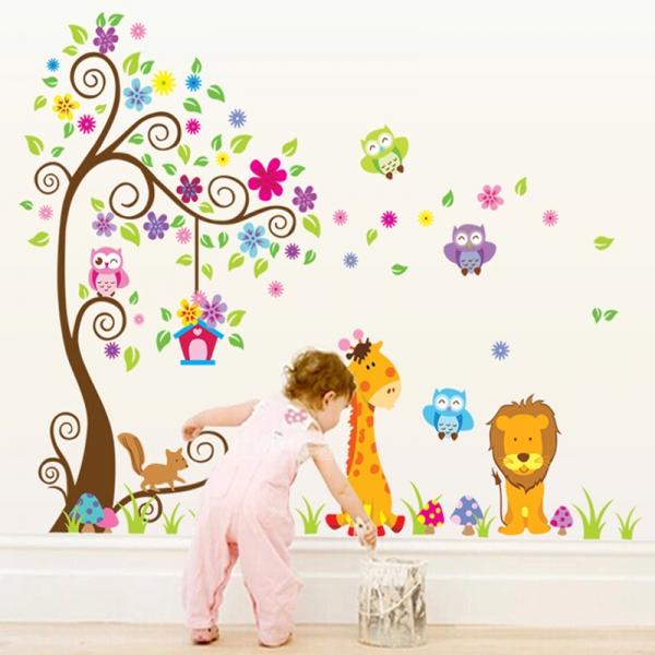 Sticker gigant de perete pentru copii - Copacel si animale diverse 1