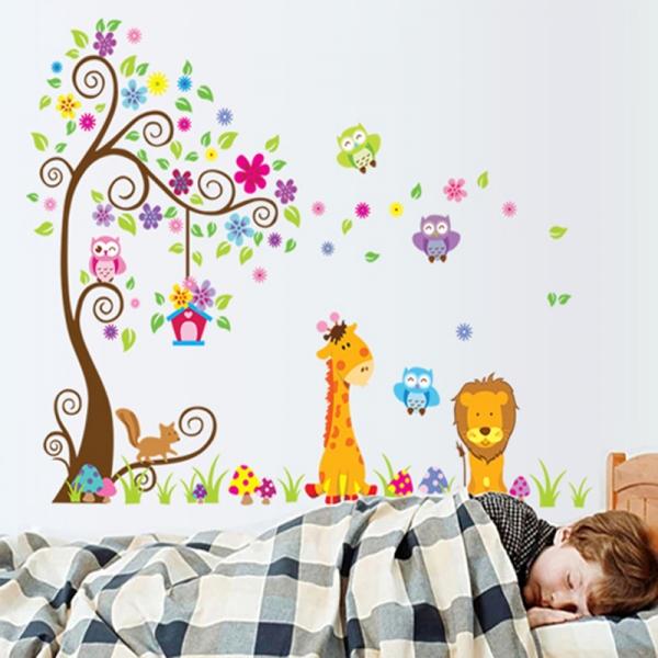 Sticker gigant de perete pentru copii - Copacel si animale diverse 5