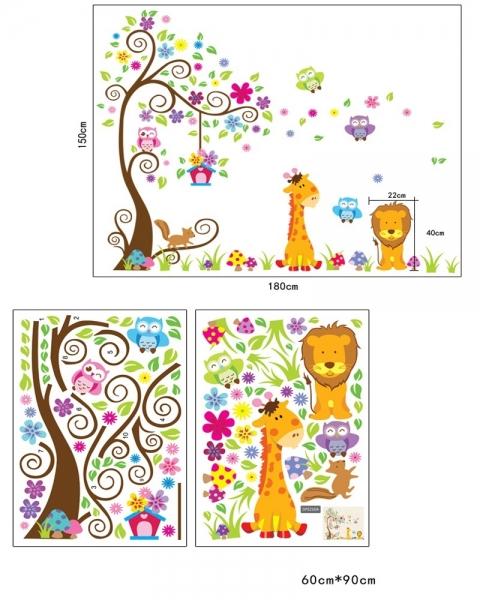 Sticker gigant de perete pentru copii - Copacel si animale diverse 6