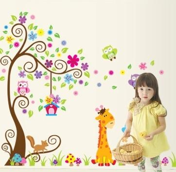 Sticker gigant de perete pentru copii - Copacel si animale diverse 3
