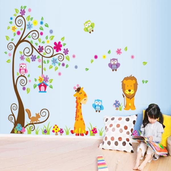 Sticker gigant de perete pentru copii - Copacel si animale diverse 0