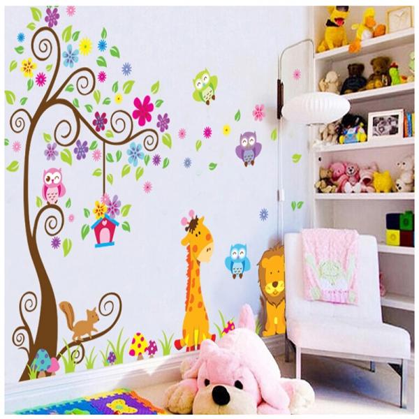 Sticker gigant de perete pentru copii - Copacel si animale diverse 4