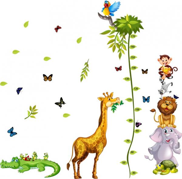 Sticker Grafic de crestere cu animale si fluturi - 250x170 cm [0]