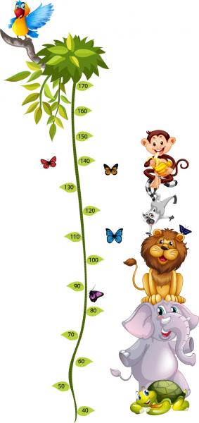 Sticker Grafic de crestere cu animale si fluturi - masurator inaltime - 90x170 cm 0