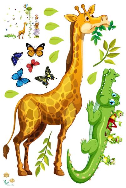 Sticker Grafic de crestere cu animale si fluturi - 250x170 cm [3]