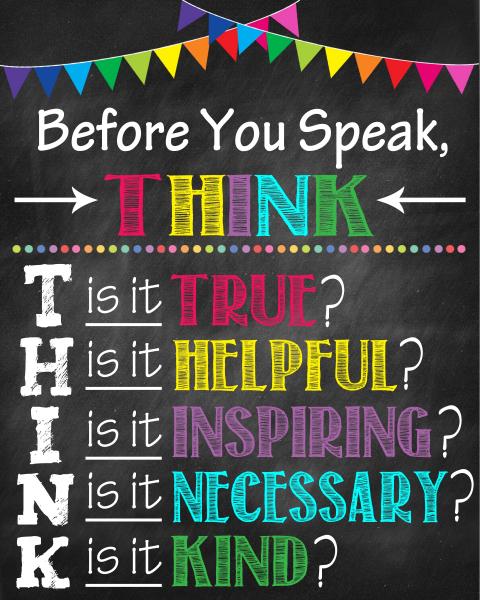 Stickere Decorative pentru Clasa - Before you speak, think 0