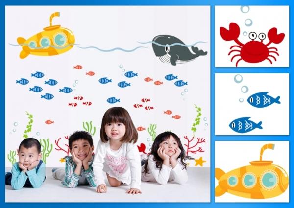Sticker pentru camere bebelusi - Submarinul galben 6