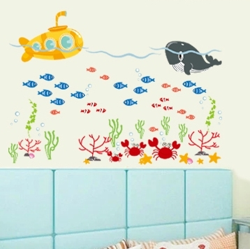 Sticker pentru camere bebelusi - Submarinul galben 0
