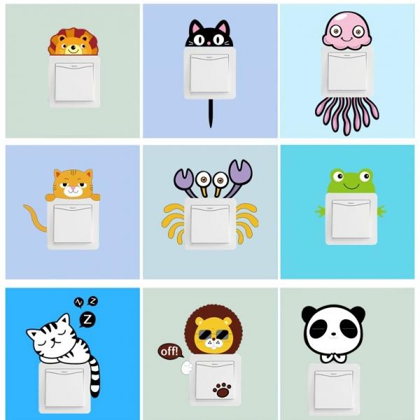 Sticker pentru intrerupator sau priza - Animale diverse 0