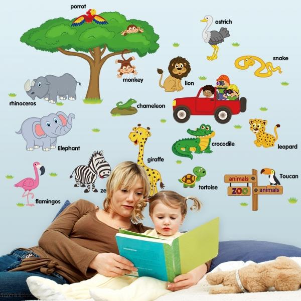 Sticker perete camere copii - Animale in limba engleza 5