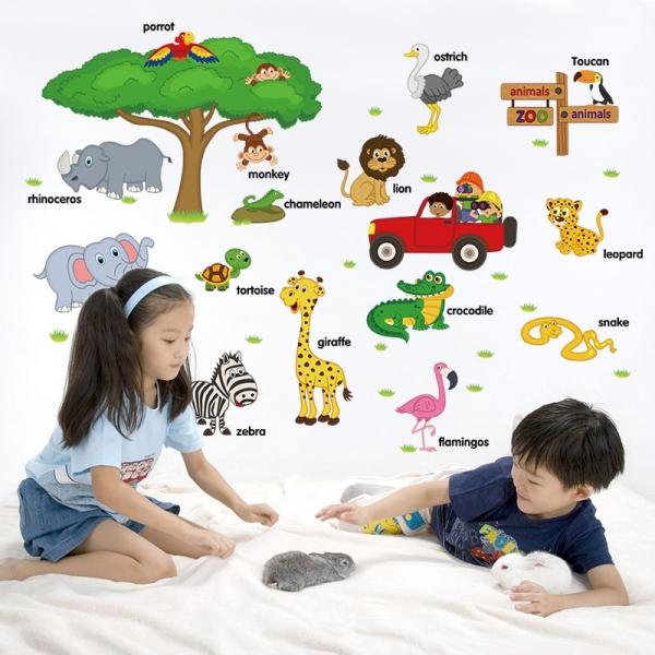 Sticker perete camere copii - Animale in limba engleza 1