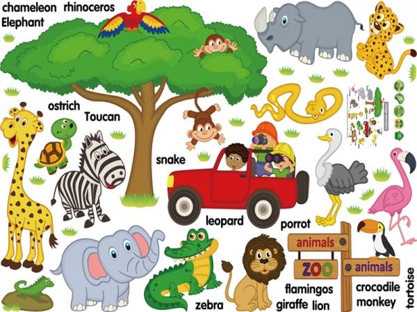 Sticker perete camere copii - Animale in limba engleza 3