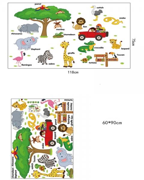 Sticker perete camere copii - Animale in limba engleza 4