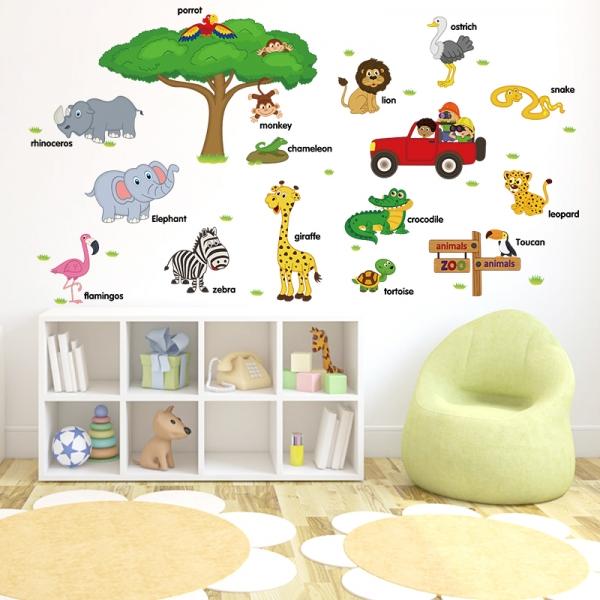 Sticker perete camere copii - Animale in limba engleza 0