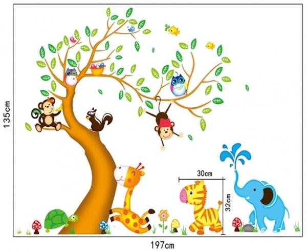 Sticker perete copii - Copac cu elefant stropitor 4