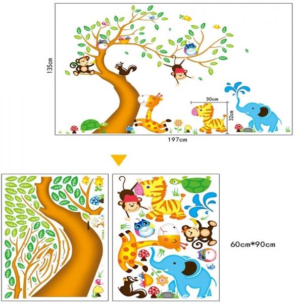 Sticker perete copii - Copac cu elefant stropitor 5