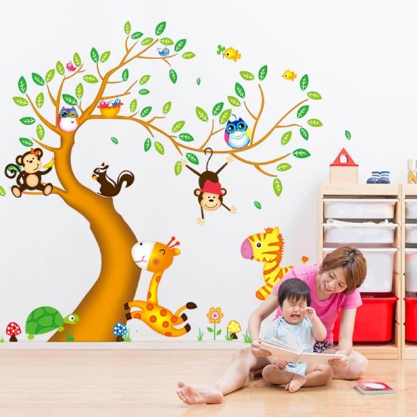 Sticker perete copii - Copac cu elefant stropitor 1
